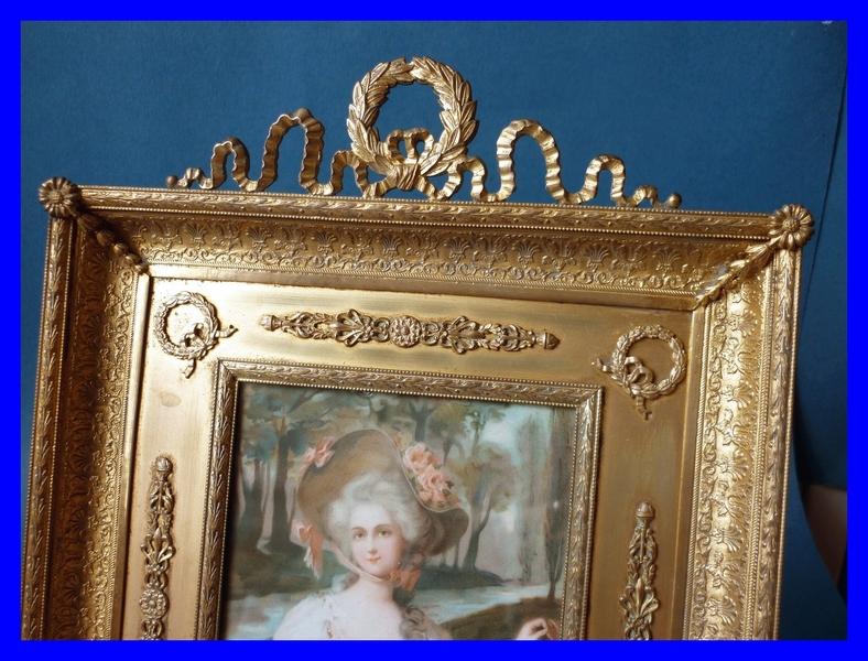 grand porte photo cadre bronze dore louis xvi 1850. Black Bedroom Furniture Sets. Home Design Ideas