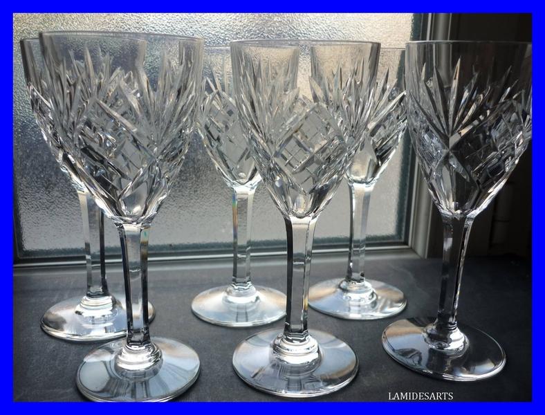 6 verre a vin cristal de saint louis chantilly. Black Bedroom Furniture Sets. Home Design Ideas