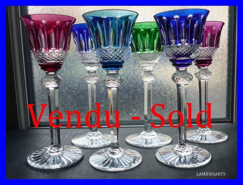 6 verres a liqueur en couleurs cristal de saint louis modele tommy - Cristal st louis ancien ...