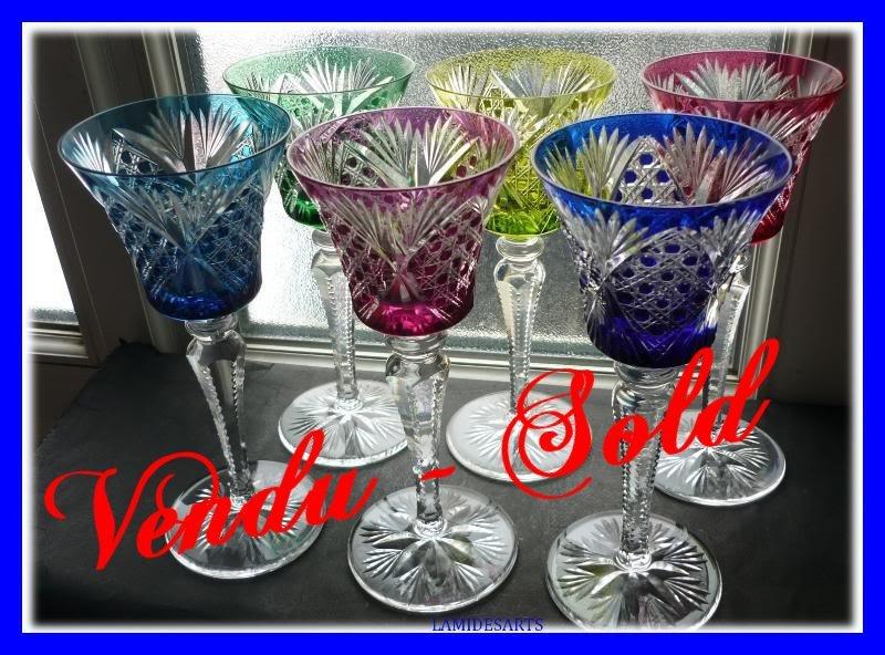 6 Grands Verres Vin Du Rhin Roemer Cristal De Saint Louis