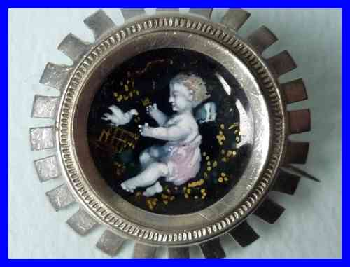 ANTIQUE BROOCH ENAMEL with angel and bird 1900