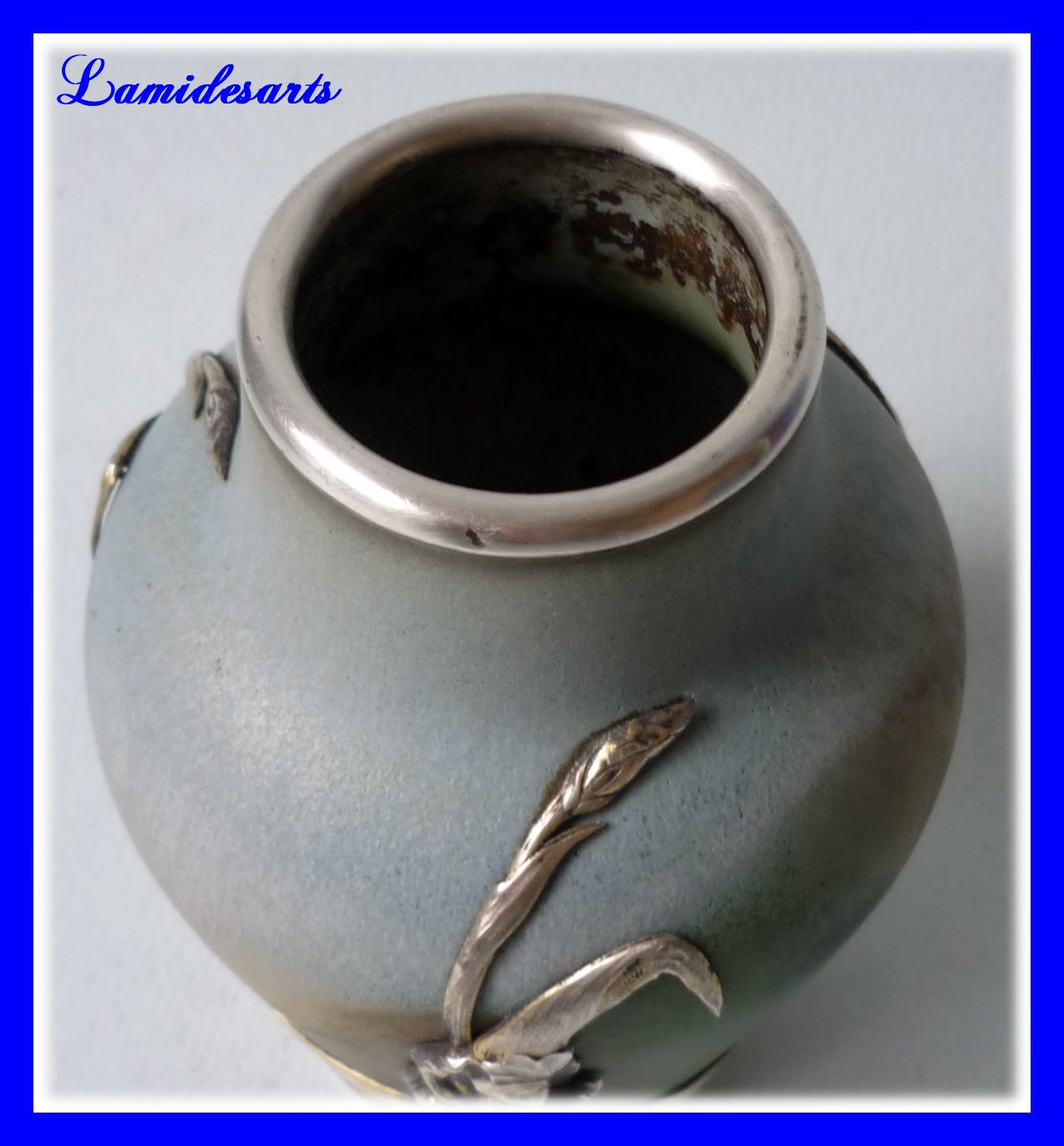 Art Nouveau Ceramic Sterling Silver Mount Lucien Gaillard 1900