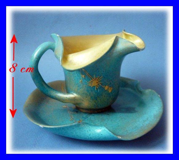clement massier art nouveau ceramic cup saucer golfe. Black Bedroom Furniture Sets. Home Design Ideas