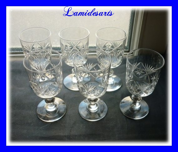 cristal de baccarat 6 verres porto vers 1880 9 cm. Black Bedroom Furniture Sets. Home Design Ideas