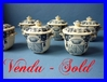 ANTIQUE FRENCH GIEN 6 cream pots armorial count's coat of arms from a castle !!