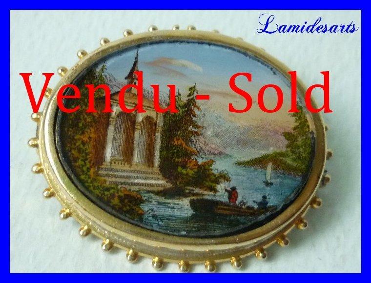 Broche fixe sous verre napoleon iii paysage anime 1870 b - Fixe sous verre ancien ...