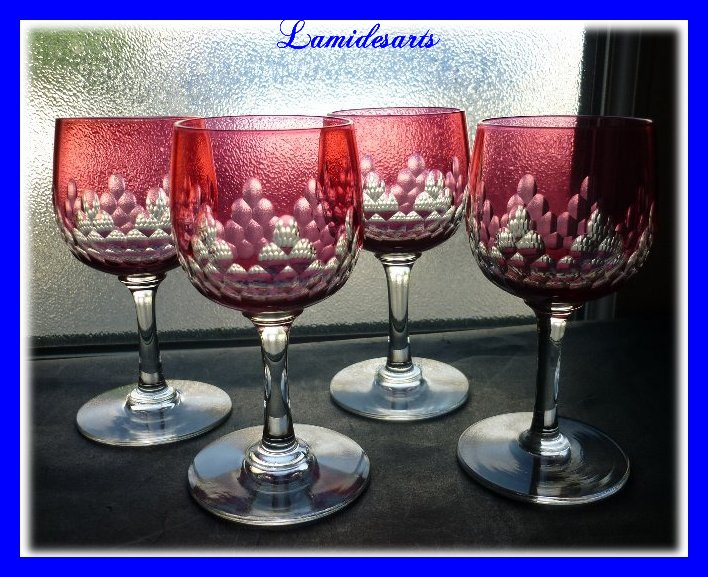 Baccarat Crystal Footed Ruby Glass Richelieu Pattern 1900 Stock 0