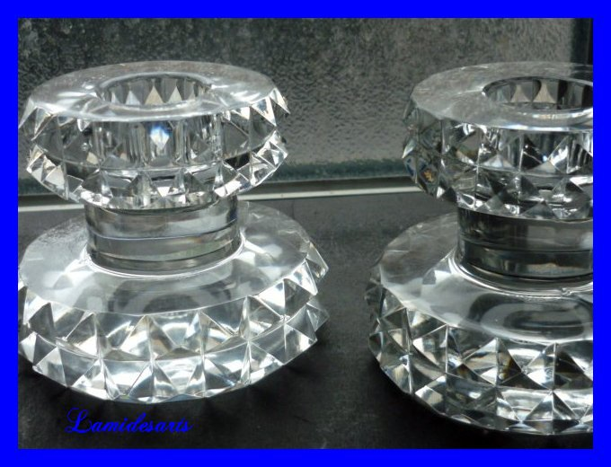 Daum Nancy France Crystal Candlesticks 1950 S