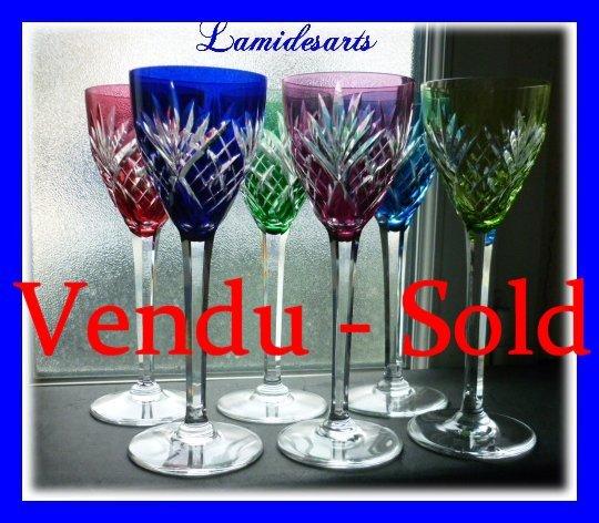 6 Verres Vin Du Rhin Roemer En Couleurs Cristal De Saint