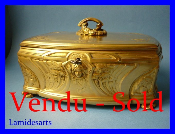 Big Art Nouveau Gilt Bronze Jewel Box Signed Lelievre For