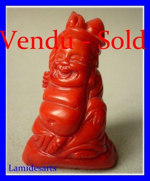 Bouddha Sculpture En Corail Rouge 1900 1950