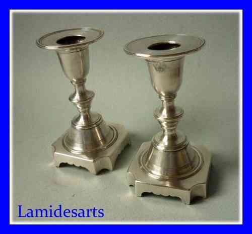 Rare sterling silver pair of candlestick MUSEUM PORTUGAL LISBON 1810 - 1822