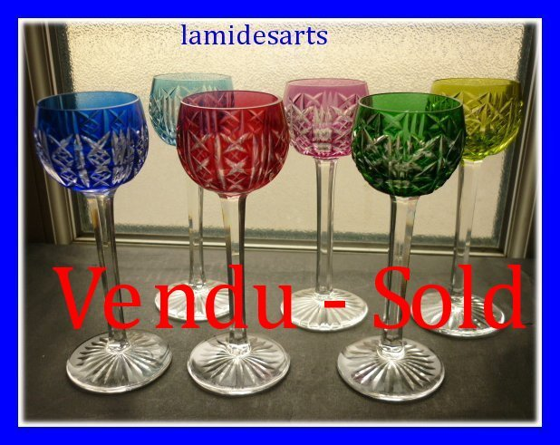 6 verres a liqueur en couleurs cristal de saint louis - Verres anciens en cristal ...