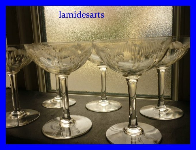 6 coupe a champagne cristal de baccarat moliere 1916 stock 1 x 6. Black Bedroom Furniture Sets. Home Design Ideas