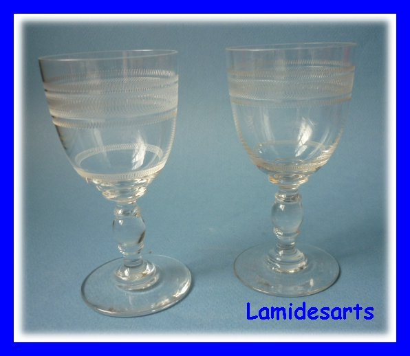 2 verres a vin cristal grave baccarat 1900. Black Bedroom Furniture Sets. Home Design Ideas