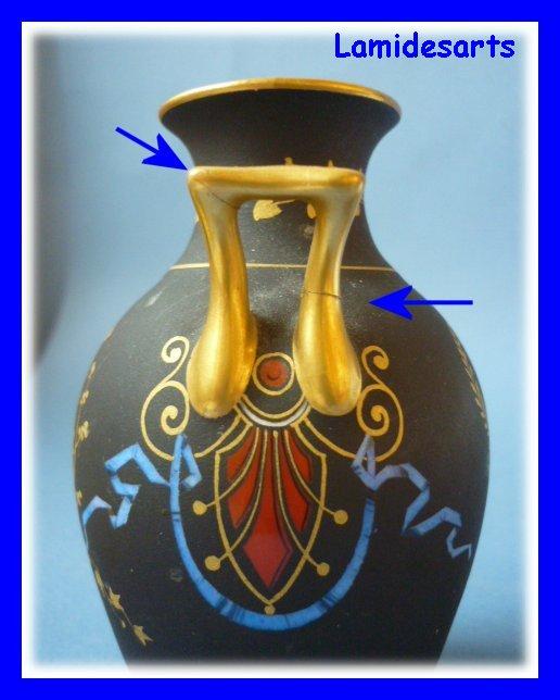 vase porcelaine de paris et pichet noir et blanc 1900. Black Bedroom Furniture Sets. Home Design Ideas