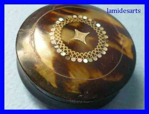 1850's TORTOISE SHELL BOX INLAID WITH MOTHER OF PEARL
