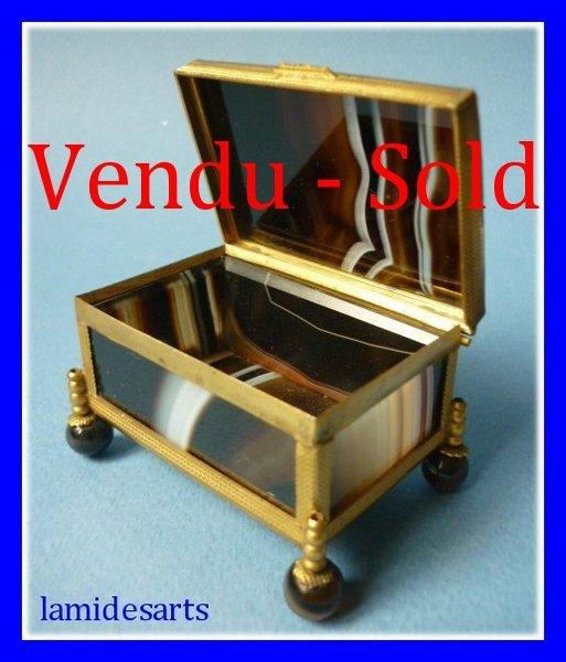 rare boite coffret agate laiton dore napoleon iii 1850. Black Bedroom Furniture Sets. Home Design Ideas