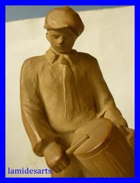 RARE SEVRES STONEWARE SCULPTURE signed A. HUSS the drummer 1930 - 1940