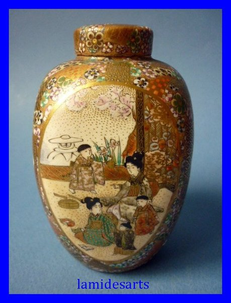 Antique Japanese Satsuma Vase Tea Caddy Meiji Period 1868 1912