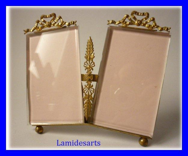 cadre porte photo biseaute double laiton dore louis xvi 1900. Black Bedroom Furniture Sets. Home Design Ideas