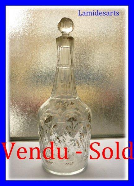 Belle Carafe A Liqueur Cristal Taille Dore 1820