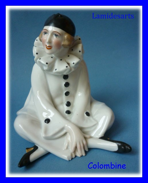 paire figurine porcelaine colditz pierrot et colombine 1920. Black Bedroom Furniture Sets. Home Design Ideas