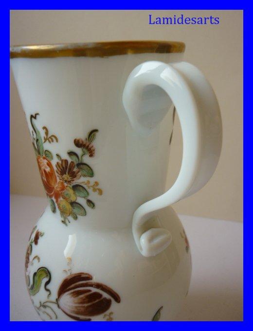 Vase Ancien Opaline Peinte Boheme 1850