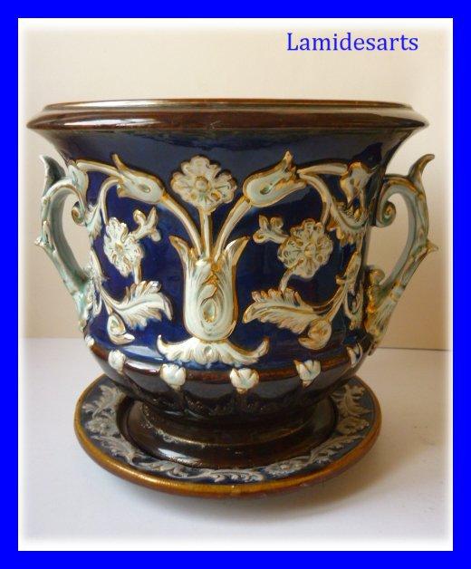 cache pot barbotine style renaissance bleu et or 1880. Black Bedroom Furniture Sets. Home Design Ideas
