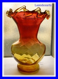 MONTJOYE LEGRAS Yellow and Red Glass Vase  1900