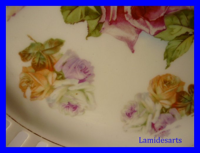 2 Assiettes Porcelaine Limoges Decor Roses 1920