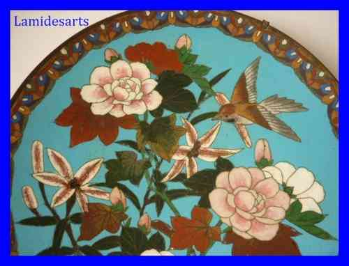 CHINESE ENAMEL DISH Flowers and  Bird 1880