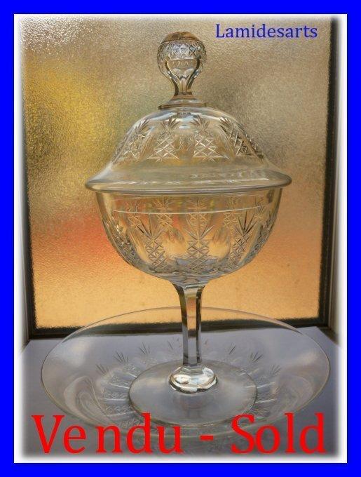 bonbonniere drageoir cristal baccarat 1900. Black Bedroom Furniture Sets. Home Design Ideas
