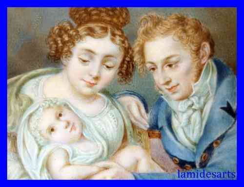 MINIATURE FAMILY PORTRAITS PAINTING ON IVORY 1800 - 1830