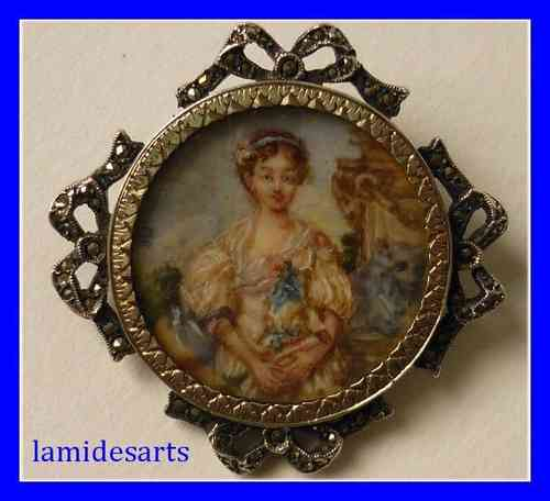 SILVER AND MARCASITE BROOCH WITH MINIATURE PAINTING ON IVORY