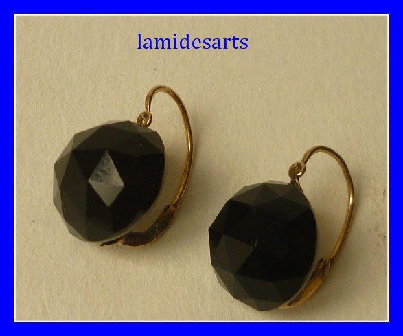 parure pendentif boucles d 39 oreille jais noir et or 18 carats. Black Bedroom Furniture Sets. Home Design Ideas