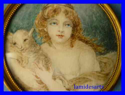 MINIATURE PORTRAIT PAINTING ON IVORY Girl with Lamb