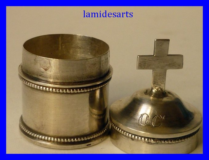 Antique Silver Pyx Communion Wafer Box 1820