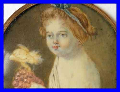 MINIATURE PORTRAIT PAINTING ON IVORY  Girl with Grapes
