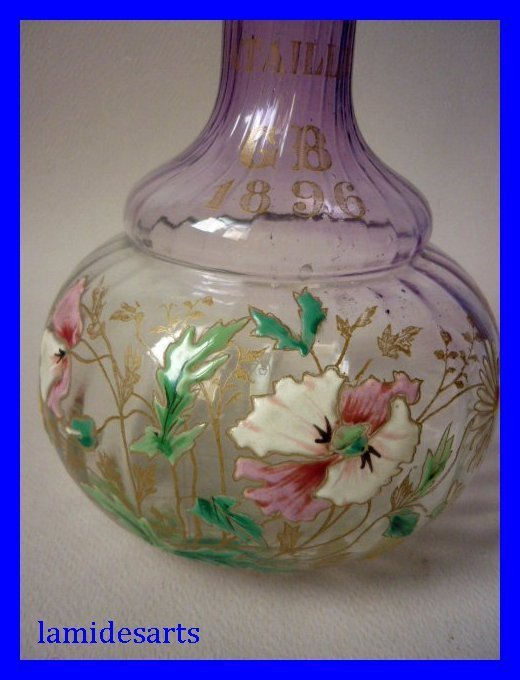 vase verre emaille legras montjoye dat 1896. Black Bedroom Furniture Sets. Home Design Ideas