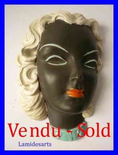 GOLDSCHEIDER CERAMIC WALL MASK OF A LADY ART DECO 1940