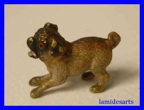 FIGURINE BRONZE DE VIENNE 1880 CHIEN CARLIN