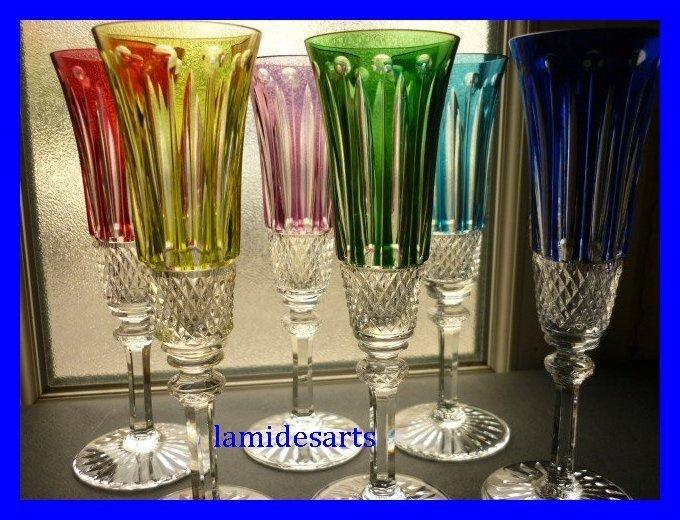 cristal saint louis tommy 6 flute a champagne en couleurs. Black Bedroom Furniture Sets. Home Design Ideas