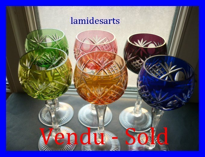 6 verres a vin du rhin roemer cristal de boheme de couleurs. Black Bedroom Furniture Sets. Home Design Ideas