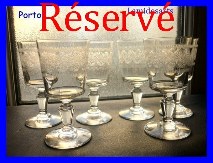 6 verres a vin de porto cristal grave baccarat 1900. Black Bedroom Furniture Sets. Home Design Ideas