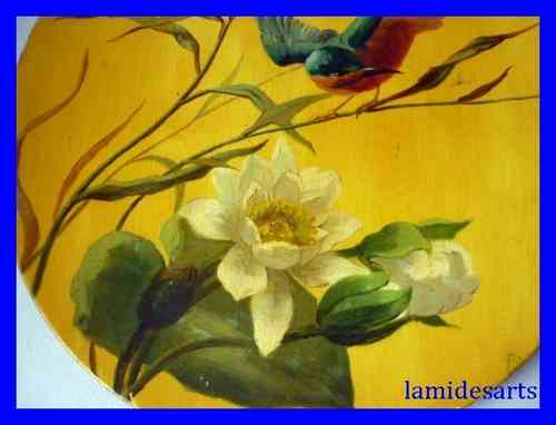 ANTIQUE PAINTING OIL ON BOARD Waterlily and kingfisher 1880 - 1920