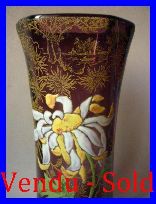 vase verre emaille legras montjoye chrysanthemes. Black Bedroom Furniture Sets. Home Design Ideas