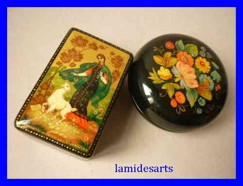 2 Hand Painted Kholui Russian Lacquer Boxes 1980's