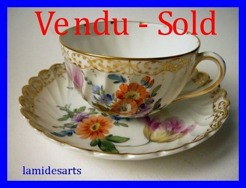 Tasse Porcelaine de Nymphenburg peint main 1900 a