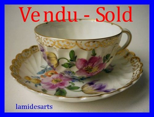Tasse Porcelaine de Nymphenburg peint main 1900 b